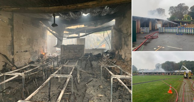 Pictures show the damage caused by a fire at St Mary's School in Darley Abbey, Derbyshire