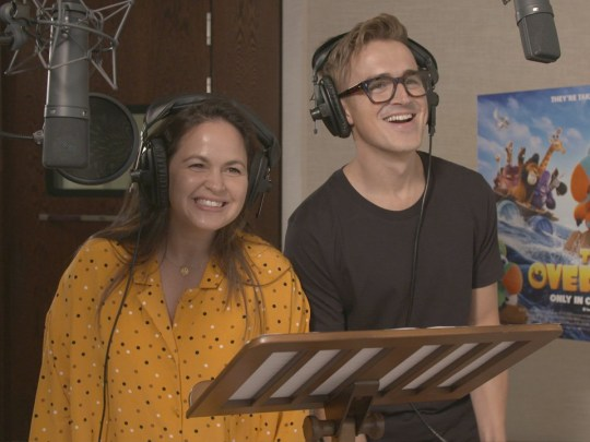 Tom and Giovanna Fletcher in recording studio to voice movie characters