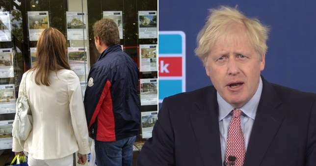 Boris Johnson and people outside an estate agents