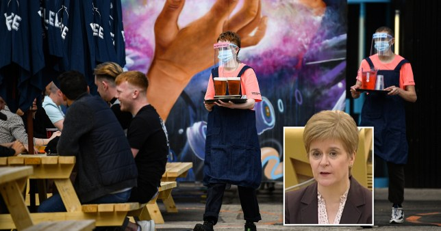 Members of the public enjoy their first drink in a beer garden at SWG3 on July 06, 2020 in Glasgow, Scotland. And a shot of Scottish First Minister Nicola Sturgeon giving an announcement on September 7, 2020 of a 16 day 'circuit breaker' lockdown ending on October 25