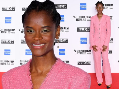 Letitia Wright serves looks as she joins Steve McQueen at socially distant Mangrove premiere
