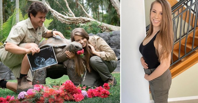 Bindi Irwin pictured with baby bump and with husband Chandler Powell holding baby scan