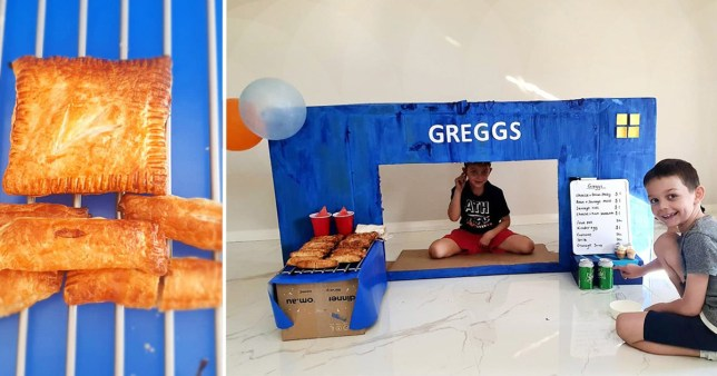 The Brindle family with their Greggs store