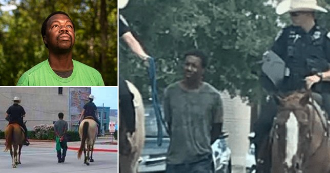 Donald Neely, 44, was led by a rope through the streets after being arrested (Picture:  AP/ CBS/ Adrienne Bell)