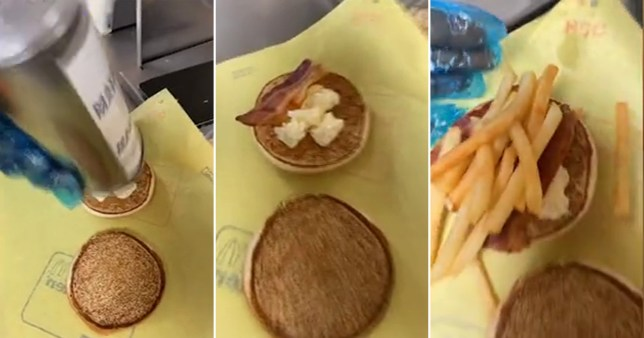 mcdonald's worker chicken and chips sandwich