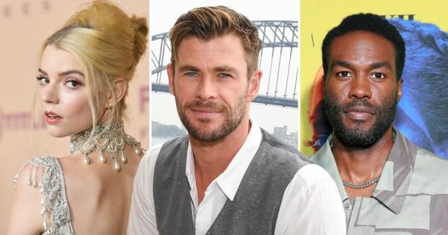 Chris Hemsworth pictured alongside Anya Taylor-Joy and Yahya Abdul-Mateen II
