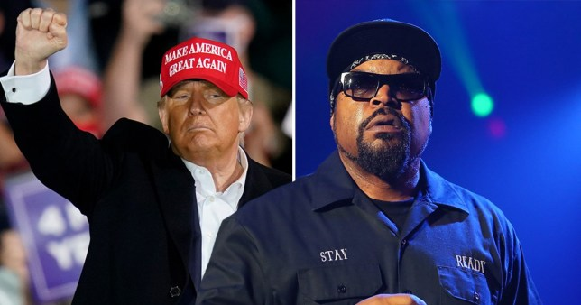 Ice Cube pictured separately alongside Donald Trump