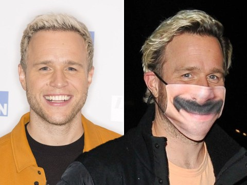 Olly Murs rocks comical mustachioed face mask and we kinda like it
