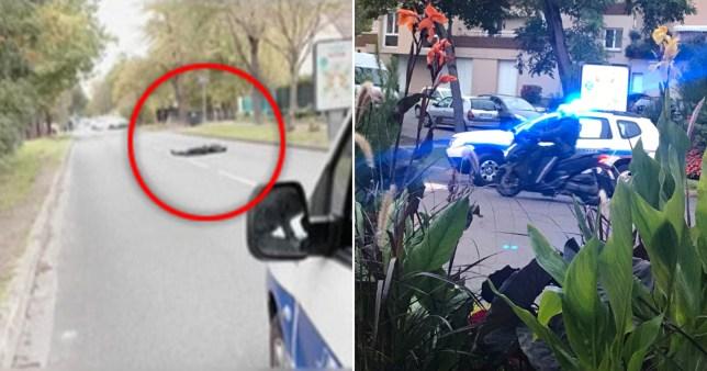 Un corps gît sur la route après que la police a abattu un homme quelques instants après qu'il aurait décapité un professeur d'histoire dans la rue après avoir donné une leçon sur la liberté d'expression et les caricatures du prophète de l'Islam Mahomet