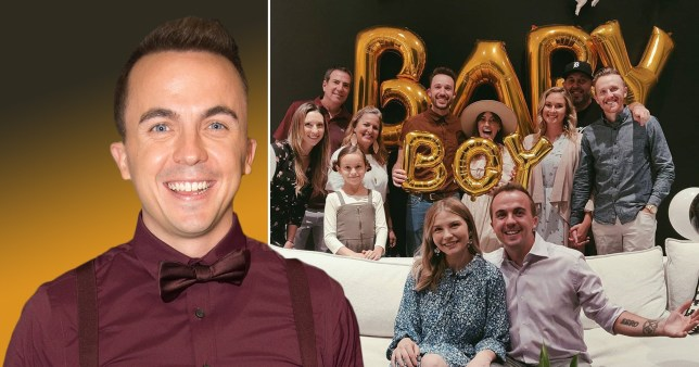 Frankie Muniz and wife Paige Price surrounded by friends and family