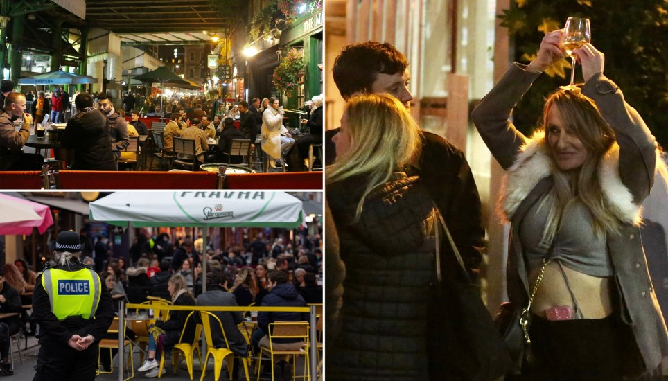 Londoners follow Leeds and Manchester by braving cold for first night in tier 2