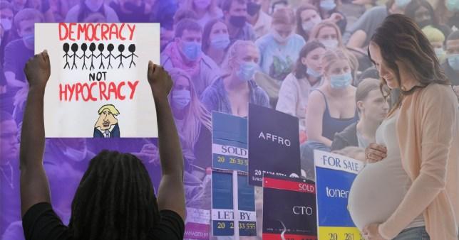 Un manifestant tient une pancarte dans une image de compilation avec une femme enceinte, des jeunes et des enseignes à vendre.