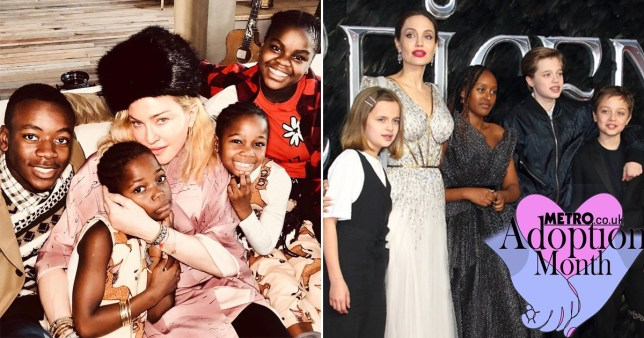 Angelina Jolie and Madonna with their children
