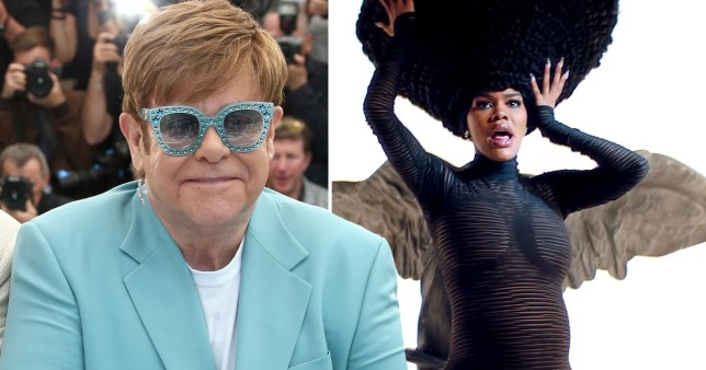 Sir Elton John pictured alongside Teyana Taylor