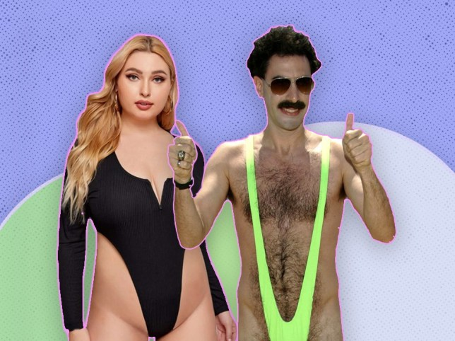 shein bodysuit next to a picture of borat in his mankini