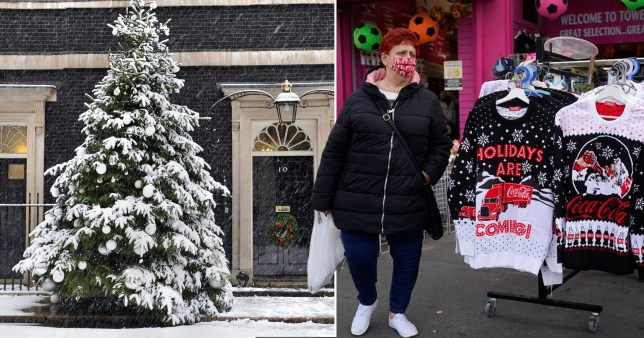 Image of a snowy Christmas tree outside 10 Downing Street, and a woman standing by Christmas jumpers