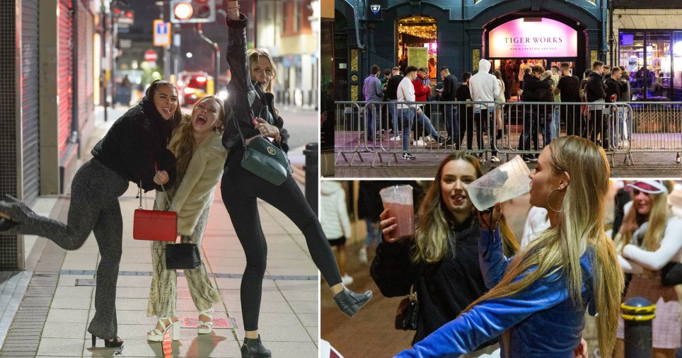 Revellers out for a final night out in Sheffield as South Yorkshire wakes up to tier 3 (Pictures: SWNS/LNP)