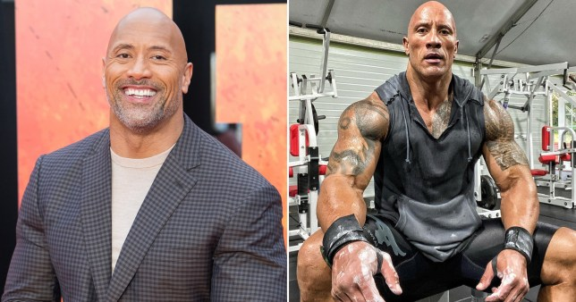 The Rock pictured on red carpet and in the gym