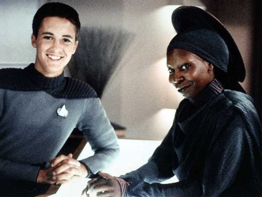 Wil Wheaton and Whoopi Goldberg in Star Trek: The Next Generation