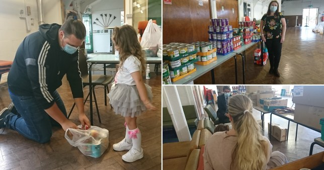 A mum-of-five has told of her struggle to make ends meet as she and her three-year-old daughter (inset) picked up a holiday food parcel in Coventry