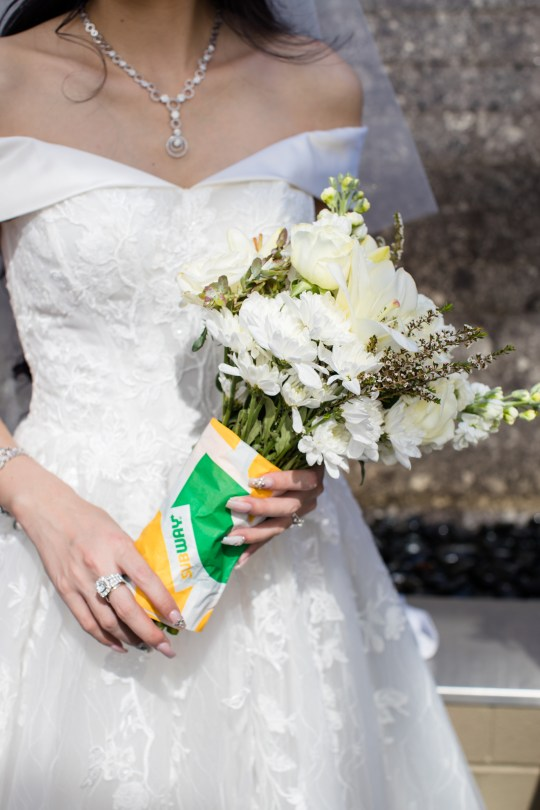 Bouquet wrapped in Subway paper
