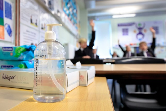 Hand sanitiser in a classroom at Outwood Academy Adwick in Doncaster