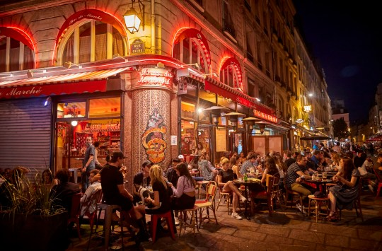 A packed bar on the Rue de Seine in Paris despite the recent rising in Covid-19 infections throughout France on September 13, 2020 in Paris, France.