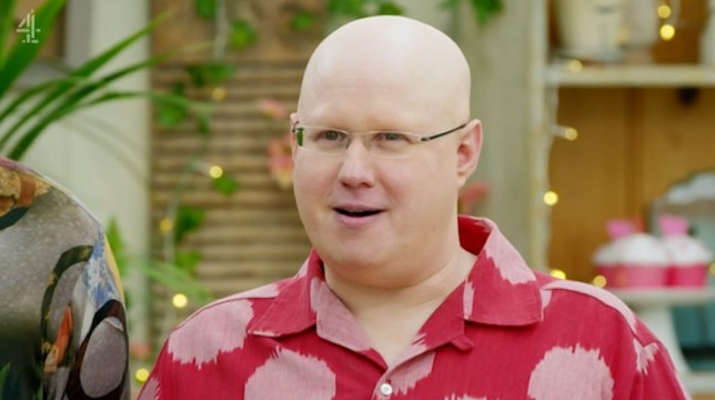 Uncleared grabs of Matt Lucas on Bake Off, credit: Channel 4/The Great British Bake Off