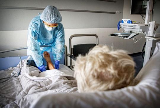 Hospital workers treat Coronavirus patients during the second wave of the virus Coronavirus outbreak, Haarlem, The Netherlands