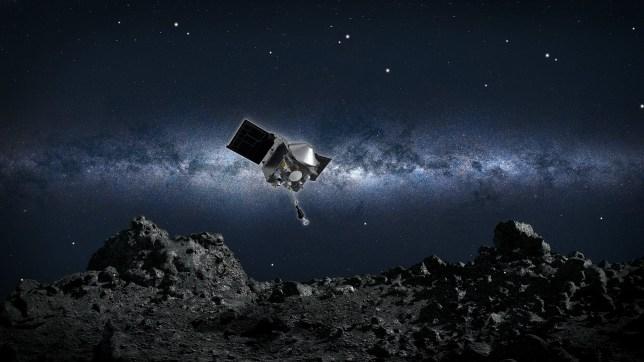 Artist's impression of the OSIRIS-REz craft above asteroid Bennu (Nasa)