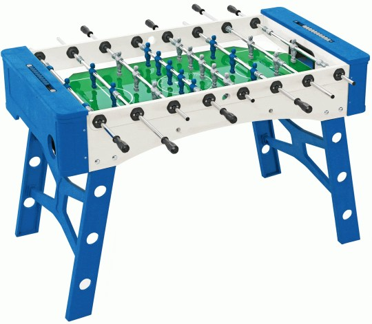 Blue and white foosball table