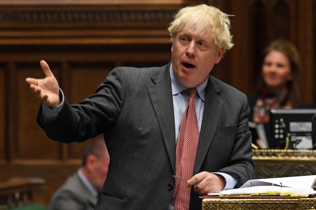 Boris Johnson speaking in Parliament.
