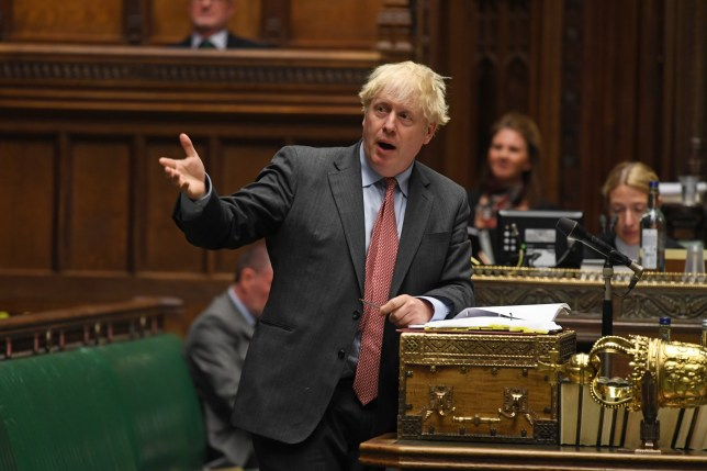 epa08709604 A handout photograph released by the UK Parliament shows Britain's Prime Minister Boris Johnson during Prime Ministers Questions in the House of Commons Chamber in London, Britain, 30 September 2020. EPA/JESSICA TAYLOR / UK PARLIAMENT HANDOUT MANDATORY CREDIT: UK PARLIAMENT HANDOUT EDITORIAL USE ONLY/NO SALES