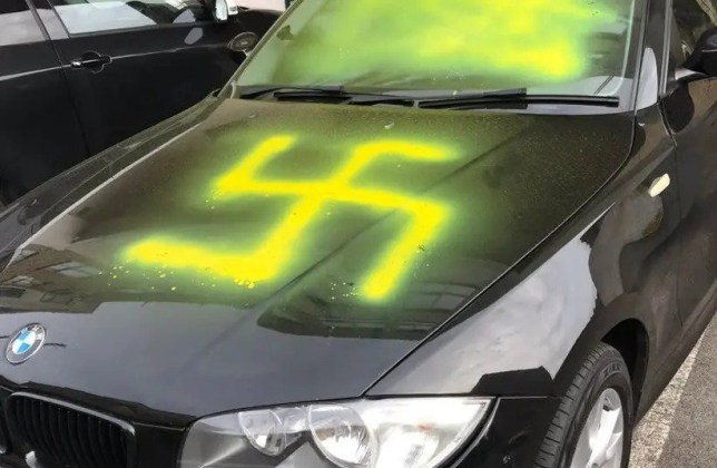 Police probing swastika painted on car on Yom Kippur 'don't believe it was targeting due to race or religion' Reuven Rivlin @PresidentRuvi Level 1: This is the shocking sight of rising #Antisemitism - a swastika sprayed on a car on Yom Kippur in Britain yesterday. Words of condemnation are not enough. We need #Holocaust education and remembrance so governments and societies everywhere actively challenge this threat to Jews.