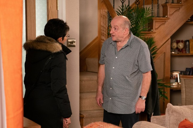 Editorial use only Mandatory Credit: Photo by ITV/REX (10492349dw) Ep 9979 Monday 13th January 2020 - 2nd Ep As Geoff Metcalfe, as played by Ian Bartholomew, and Yasmeen Nazir, as played by Shelley King, row about her cleaning efforts a tussle ensues over the vacuum and Geoff falls and hits his face on a table. Mortified, Yasmeen goes to fetch some ice. When Cathy Matthews returns to collect her bag, Geoff is unaware and launches into another tirade of abuse. Grabbing her bag, a shocked Cathy hurries out. 'Coronation Street' TV Show UK - 2019