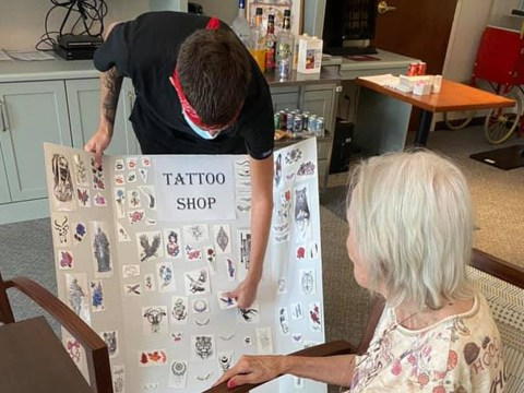 Care home staff bring joy to residents with temporary tattoo parlour