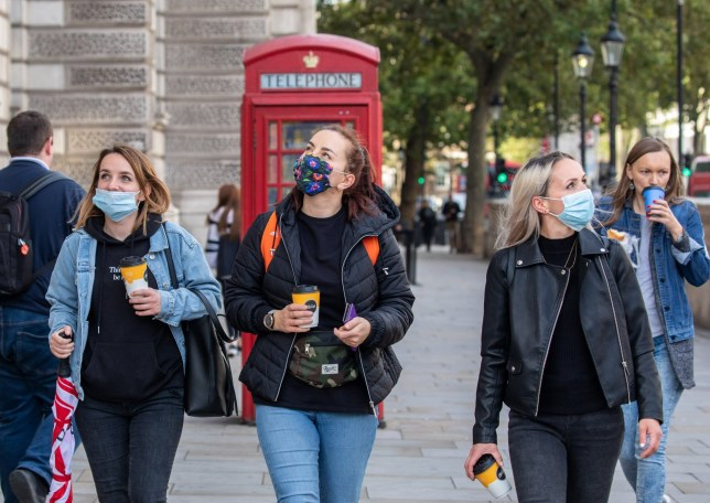 Mandatory Credit: Photo by Alex Lentati/LNP/REX/Shutterstock (10823781c) Members of the public wear masks while out shopping in Westminster as more Covid lockdown restrictions come into force for the North East of England and Liverpool as cases of coronavirus continue to rise throughout the UK. Shoppers in Westminster wear masks while out shopping in London as more lockdown restrictions come into force in North East of England, London, UK - 01 Oct 2020
