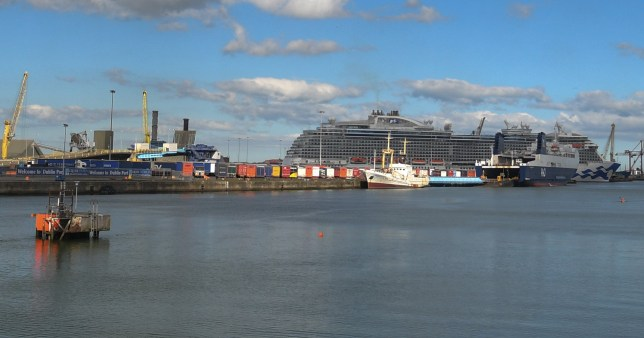 A panorama image showing Dublin Port and docked cruise ships.