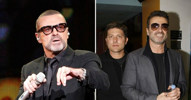 George Michael pictured on stage and with his ex Kenny Goss