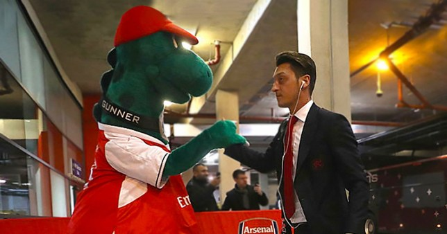 Mesut Ozil has offered to pay the wages of Arsenal club mascot Gunnersaurus