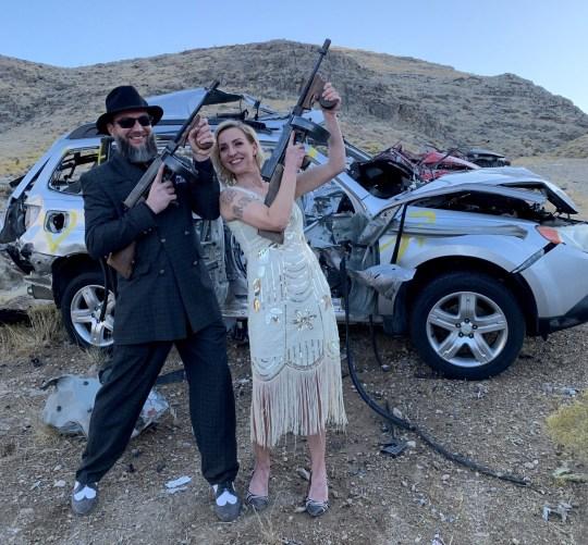 Tourists having fun with guns at Adrenaline Mountain.