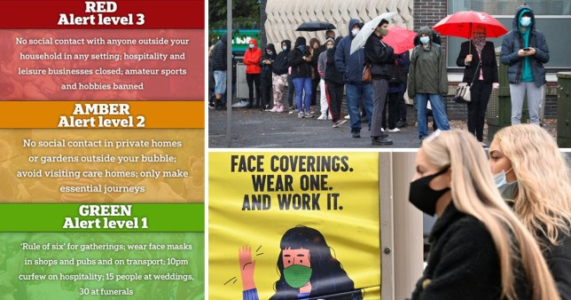 A proposed three-tier 'traffic light' system for local lockdowns in England and people wearing face masks and queuing up at a testing centre
