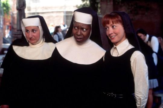 SISTER ACT 2: BACK IN THE HABIT stars WHOOPI GOLDBERG, WENDY MAKKENA and KATHY NAJIMY