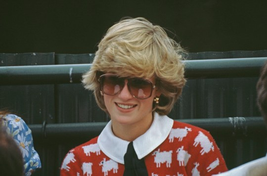 Diana, Princess of Wales attends a polo match at Smith's Lawn, Guards Polo Club, Windsor, June 1983. She is wearing a Muir and Osborne 'black sheep' sweater