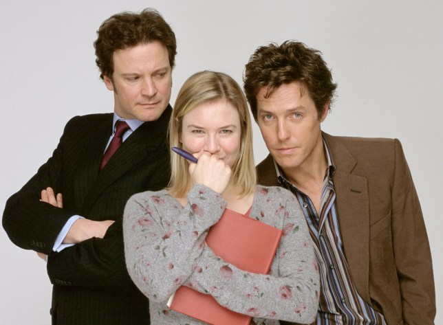 Colin Firth (Mark Darcy), Renee Zellweger (Bridget) and Hugh Grant (Daniel Cleaver) in Bridget Jones's Diary