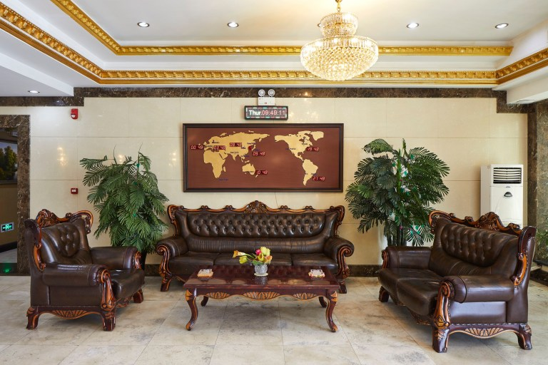 hotels of pyongyang book captures hotel interiors and staff in north korea's capital city: lobby of rangnang hotel