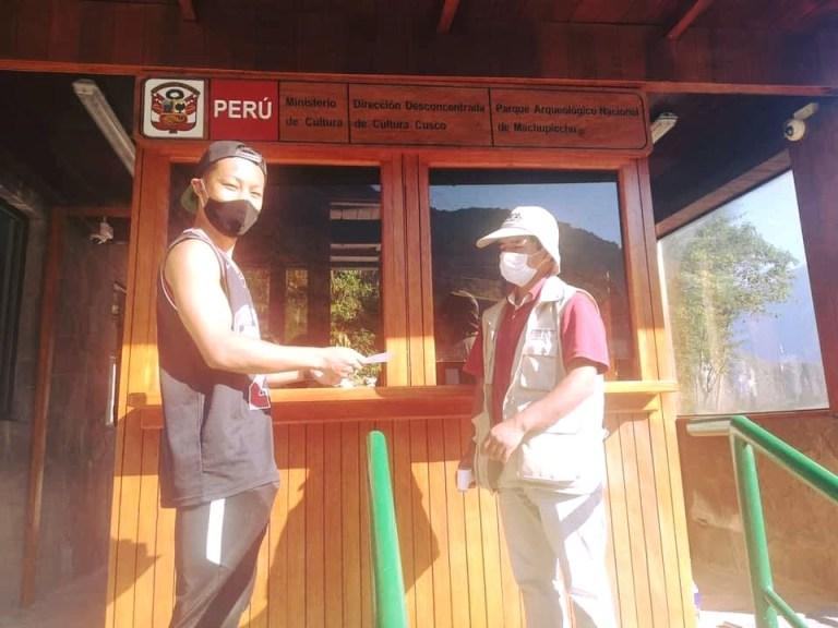 Jesse Katayama with his ticket for Machu Picchu