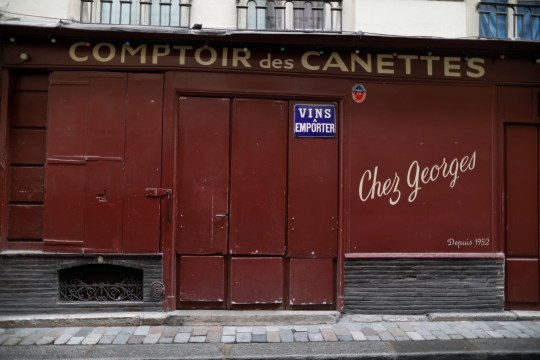 A view shows the Comptoir des Canettes bar closed as part of stricter restrictions due to the coronavirus disease (COVID-19) outbreak in Paris, France, October 13, 2020. REUTERS/Charles Platiau