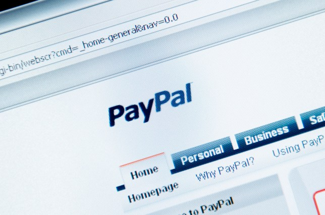 A close-up of a web browser open to PayPal