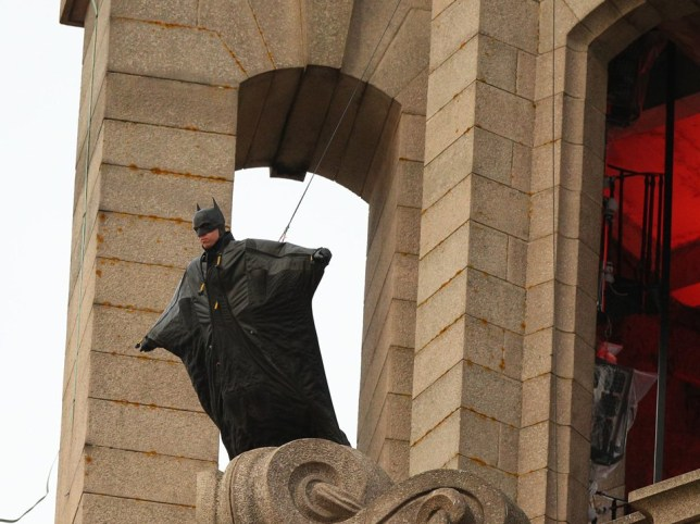 Batman stunt scene shot at Liver Building, Liverpool